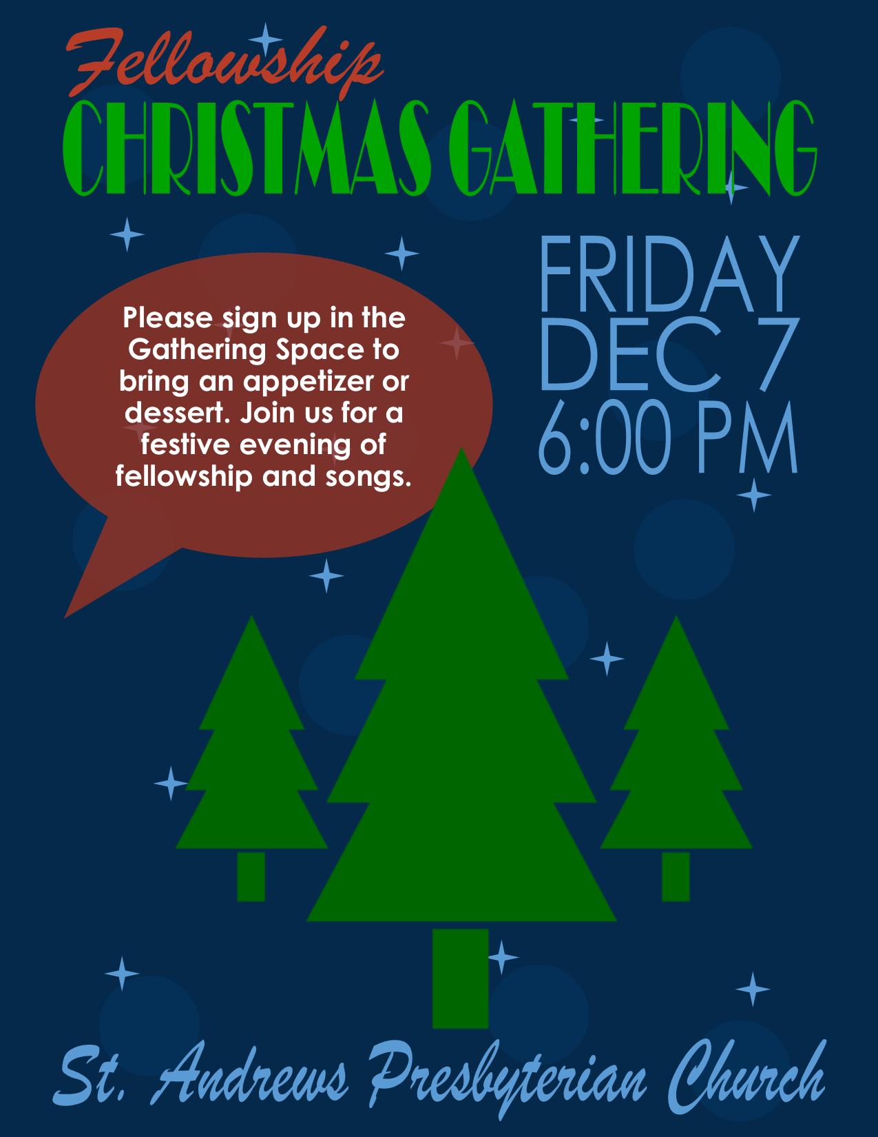 2018 Fellowship Christmas Gathering Flyer